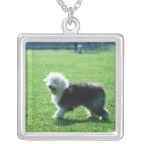 Old English Sheep Dog Silver Plated Necklace