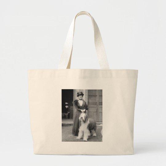 Old English Sheepdog, 1915 Large Tote Bag