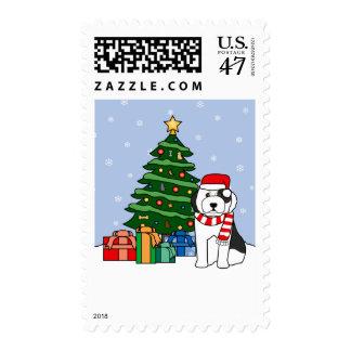 Old English Sheepdog and Christmas Tree Postage Stamp