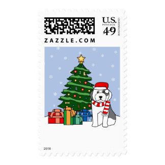 Old English Sheepdog and Christmas Tree Stamp