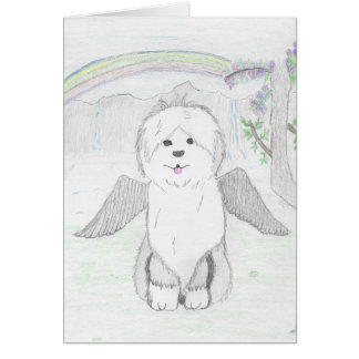 Old English Sheepdog Angel Card