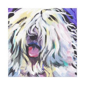 Old English Sheepdog Bright Colorful Pop Dog Art Canvas Print