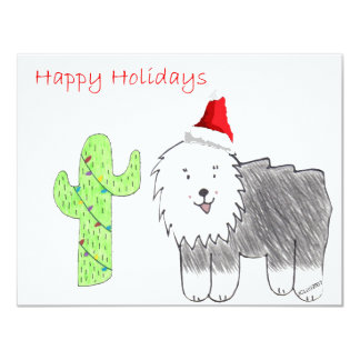 Old English Sheepdog Cactus Christmas 4.25x5.5 Paper Invitation Card