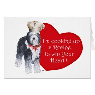 Old English Sheepdog Chef of Love Card