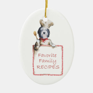 Old English Sheepdog Chef of Love Ceramic Ornament