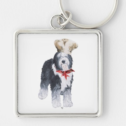 Old English Sheepdog Chef of Love Keychain