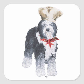 Old English Sheepdog Chef of Love Square Sticker
