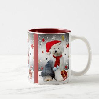 Old English Sheepdog Christmas Stars Two-Tone Coffee Mug