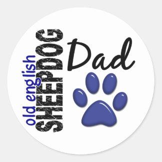 Old English Sheepdog Dad 2 Classic Round Sticker