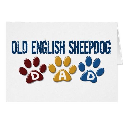OLD ENGLISH SHEEPDOG Dad Paw Print 1 Greeting Card