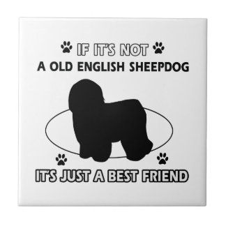 Old English Sheepdog dog breed designs Ceramic Tile