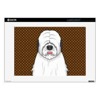 "Old English Sheepdog Dog Cartoon Paws Decals For 15"" Laptops"