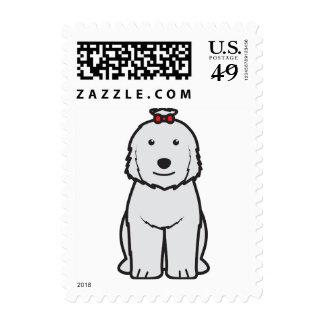 Old English Sheepdog Dog Cartoon Postage Stamp