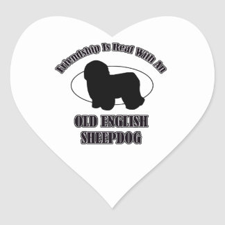 OLD ENGLISH SHEEPDOG DOG DESIGNS HEART STICKER