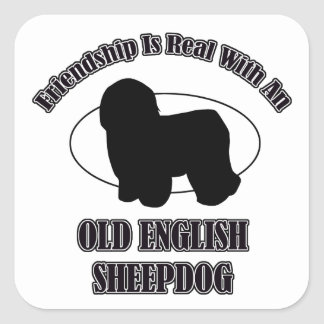 OLD ENGLISH SHEEPDOG DOG DESIGNS SQUARE STICKER