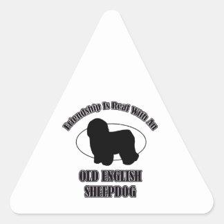 OLD ENGLISH SHEEPDOG DOG DESIGNS TRIANGLE STICKER