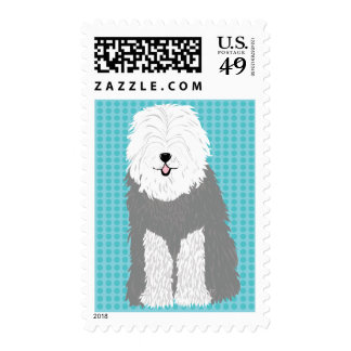 Old English Sheepdog (eyes covered) Postage Stamps