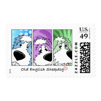 Old English Sheepdog Faces Postage Stamps