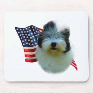 Old English Sheepdog Flag Mouse Pad