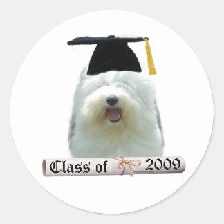 Old English Sheepdog Graduation 2009 Classic Round Sticker