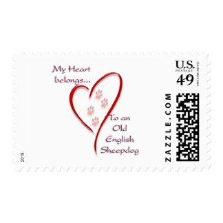 Old English Sheepdog Heart Belongs Postage Stamp