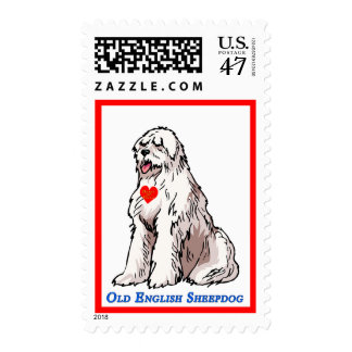 Old English Sheepdog Heart of Gold Postage