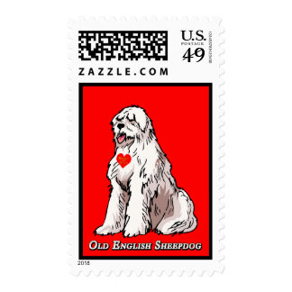 Old English Sheepdog Heart of Gold Postage Stamps