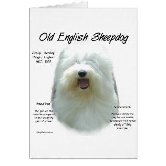 Old English Sheepdog History Design Card