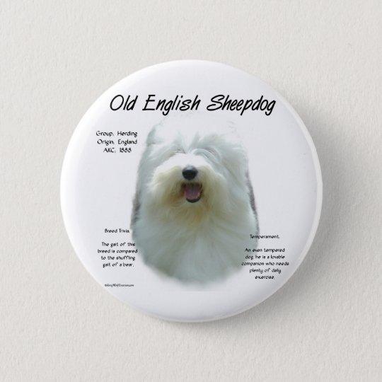 Old English Sheepdog History Design Pinback Button