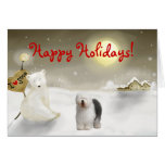 Old English Sheepdog Holiday Card
