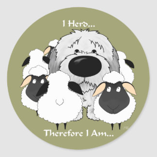 Old English Sheepdog - I Herd Therefore I Am Classic Round Sticker