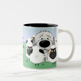 Old English Sheepdog - I Herd Therefore I Am Two-Tone Coffee Mug