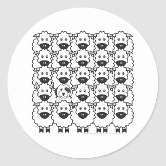 Old English Sheepdog in the Sheep Classic Round Sticker