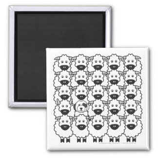 Old English Sheepdog in the Sheep 2 Inch Square Magnet