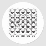Old English Sheepdog in the Sheep Round Stickers