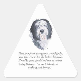 Old English Sheepdog Keepsake - Male Triangle Sticker