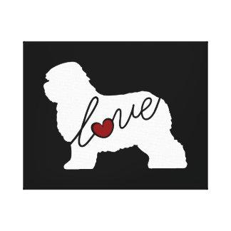 Old English Sheepdog Love Canvas Print