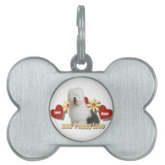 Old English Sheepdog Love,Hugs,Puppy Love gifts Pet Name Tag