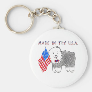 Old English Sheepdog Made In The USA Keychain