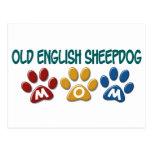 OLD ENGLISH SHEEPDOG Mom Paw Print 1 Postcards
