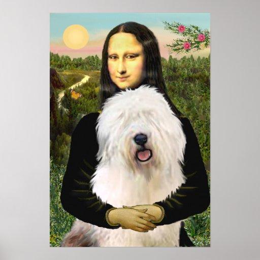Old English Sheepdog - Mona Lisa Poster