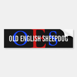 Old English Sheepdog Monogram Car Bumper Sticker