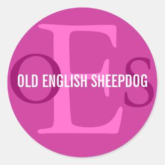 Old English Sheepdog Monogram Classic Round Sticker