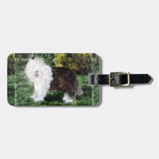 Old English Sheepdog Painting Bag Tag