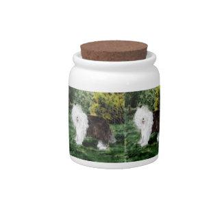 Old English Sheepdog Painting Candy Jars