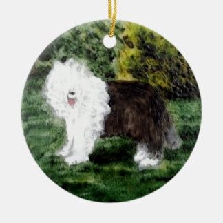 Old English Sheepdog Painting Ceramic Ornament