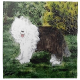 Old English Sheepdog Painting Cloth Napkin