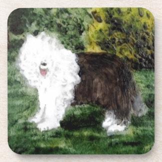 Old English Sheepdog Painting Coaster
