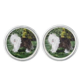 Old English Sheepdog Painting Cufflinks