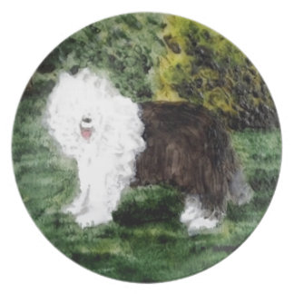 Old English Sheepdog Painting Dinner Plate